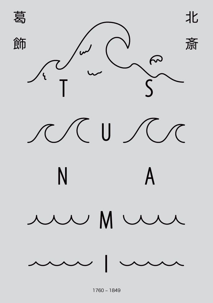 "✚ Homage to ""The Great Wave off Kanagawa"", Poster #homage #hokusai #thegreatwaveoffkanagawa #tsunami #japanese #graphic #design #visual #art #gurafiku #poster #hiragana #kanji #amasian #amasia"