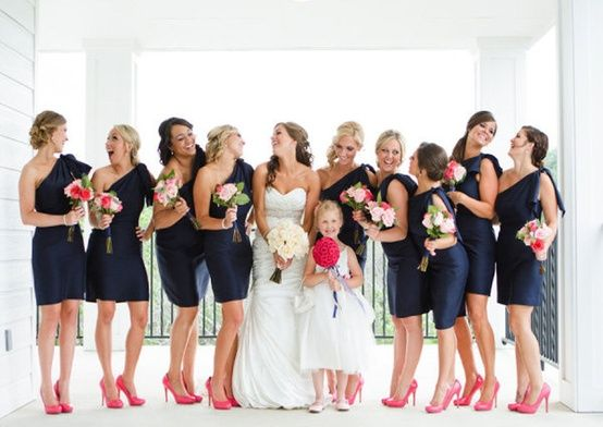 Navy coral lovely wedding day after nursing school for What colour shoes with navy dress for wedding