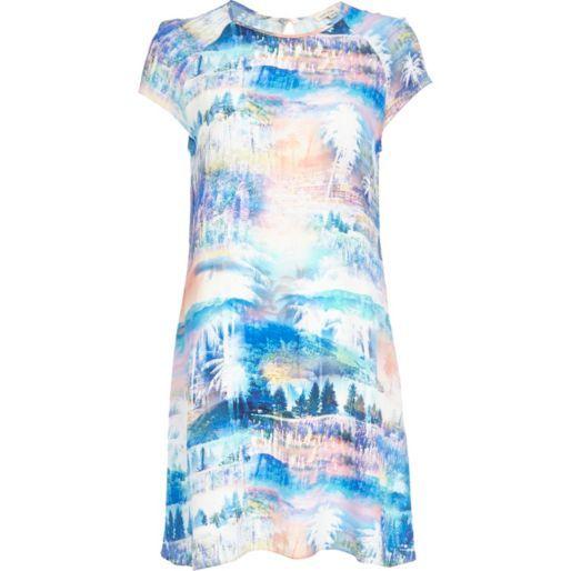 Blue forest print swing dress - day / t-shirt dresses - dresses - women