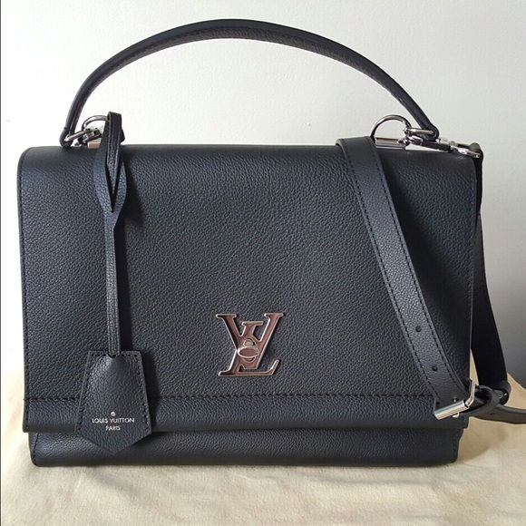 AUTHENTIC Louis Vuitton Lockme II Noir - BRAND NEW Selling brand new, recently purchased, absolutely never used LV Lockme Noir!  ALL accessories, tags, booklet, dust bag, shopping bag included. Purchased in Italy, receipt pictured, but will not include in shipment due to printed personal information. Bag is made of luscious black soft calf leather, tone-on-tone twill textile lining, silver-metallic embellishments. Features adjustable and detachable shoulder strap, key bell, twist lock…