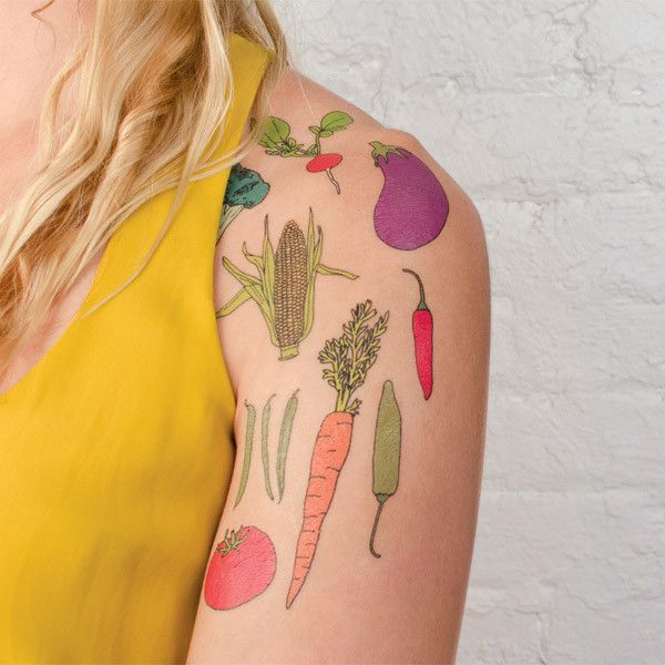 healthy tattoo: Tattoo Ideas, Tattoo Tattoo, Fruit Tattoo, Food Tattoo, Vegetables Tattoo, Temporary Tattoo, Veggies Tat, Vegetables Sets, Drinks Tattooswhat