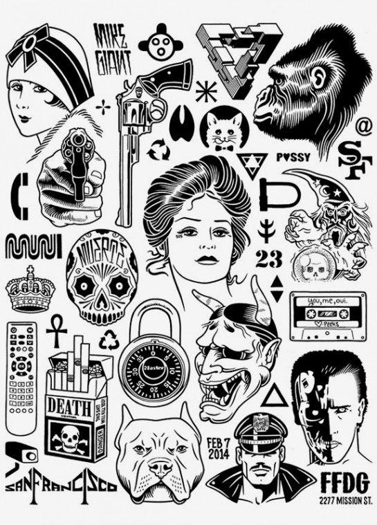 Mike Giant es uno de los grandes, pocas personas pueden decir que han marcado tendencia no solo en le diseño, moda, ilustración y el arte si no en la cultura contemporánea. En caso de que no conozcan el trabajo de este ilustrador y tatuador neoyorquino, les dejo el link a su portafolio y su marca de ropa Rebel8.