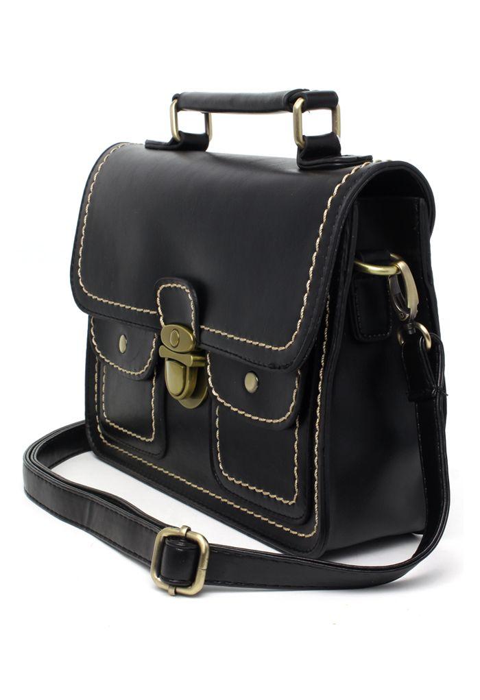 Black Old School Satchel Bag - Goods - Retro, Indie and Unique Fashion