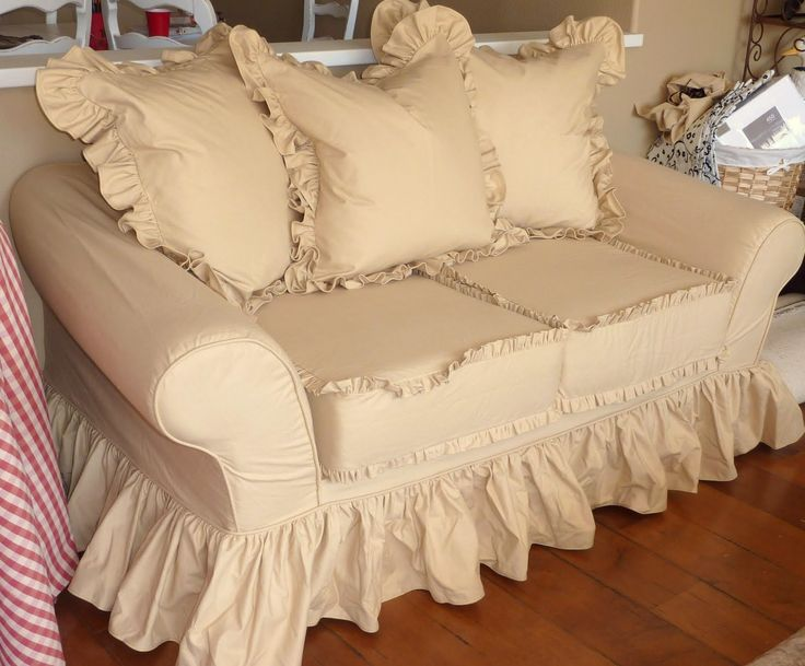 Cottage Slipcovers | Cottage by Design with Trish Banner: Super ruffly sofa slipcovers