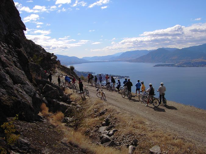Cycling the Kettle Valley Railway above Lake Okanagan