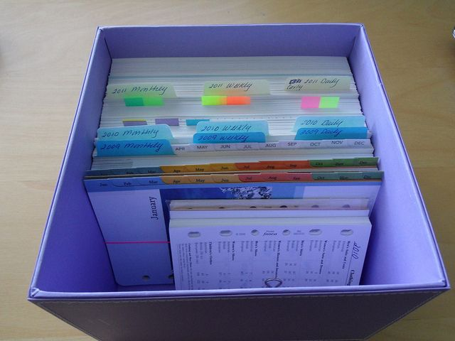 Filofax Archive box...for keeping things to scrapbook from each month until you get it maybe?