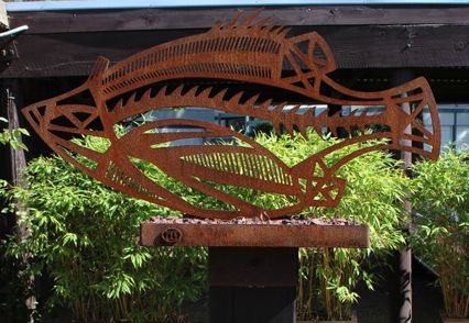 Michael Wilson -  Barramundi Free standing sculpture of Corten steel with scoria…
