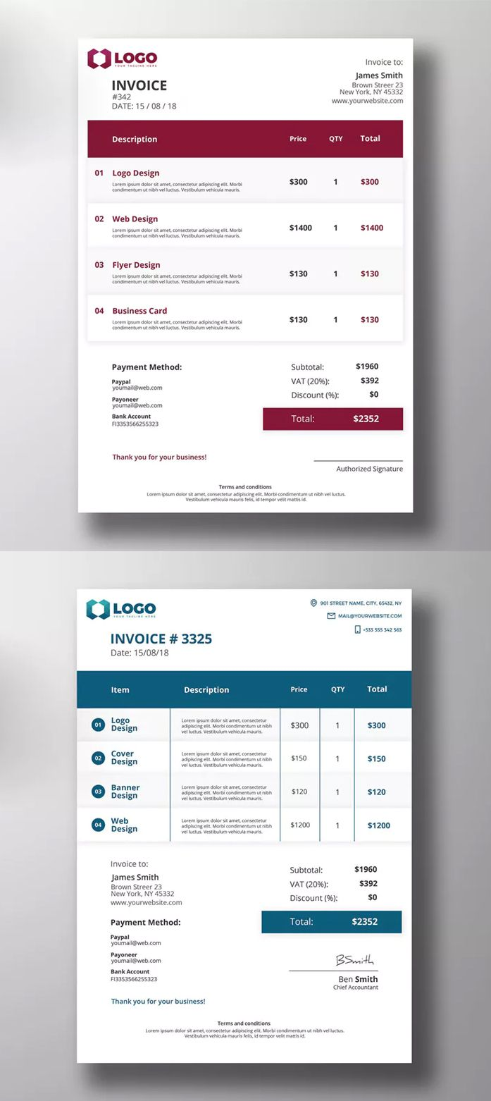 2 modern invoice templates psd print ready