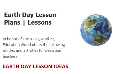 """This is an image from this resource on the Internet4Classrooms' """"Earth Day at Internet 4 Classrooms"""" resource page:    Earth Day Lesson Plans.    Education World offers a list of lesson plans that celebrate Earth Day themes."""