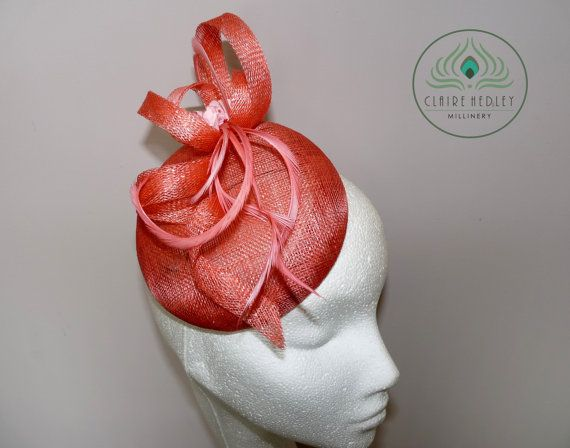 Coral peach sinamay pillbox percher hat cocktail hat