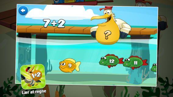 Miniklub lite er en gratis app, der kan tilkøbes spil til andre fag, men regnespillet er gratis. Man får et plusstykke og man skal så fodre pelikanen med facit.