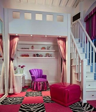 Loft bed with storage and study below, fabulous room for teens! What a great room to hang out with friends in…