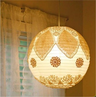 The Gahan Girls blogger added doilies to a paper lantern in a cool way