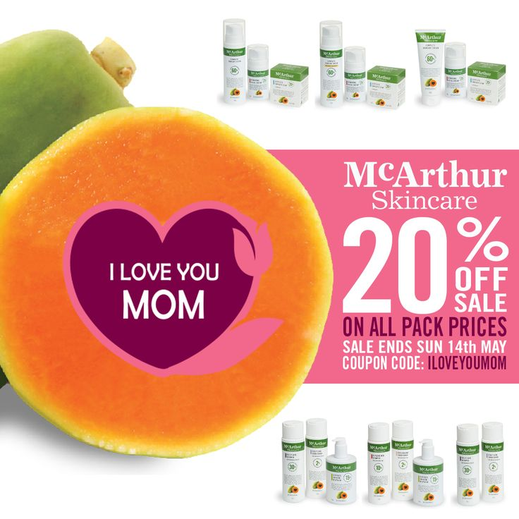 Save 20% OFF all Pack Prices with McArthur Skincare Use Coupon Code: ILOVEYOUMOM to save 20% at checkout in our online store. This offer is not available in conjunction with any other offer. Sale offer expires Midnight (AWST) Sunday 14th May, 2017. Spoil mum this Mother's Day with a collection of natural skincare products. http://mcarthurskincare.com/products/?pcat=packs