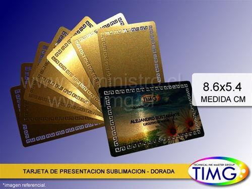 ¡Aviso de llegada! Tarjeta de Presentación Sublimación Metalica - Dorada - 100 unidades. Mira acá más detalles http://www.suministro.cl/product_p/1061010007.htm #Contáctanos #Chile #TIMG #servicios