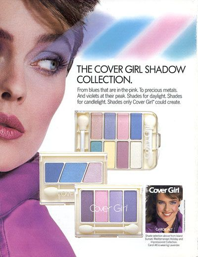 This Cover Girl advertisement reflects the make up style of the time. Bright, neon eyeshadow excessively applied was another major fashion trend of the 1980's. Make up was one of the many things that was over the top during the materialistic decade.
