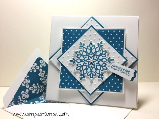 handmade card ... blue and white ... large stamped and die cut snowflake ... luv how the matted squares look with each layer turned 90 degrees ... like the way white polka dots on blue are matched to embossing folder polka dots on white ... great card  and wonderful layout design!! ... Stampin' Up!