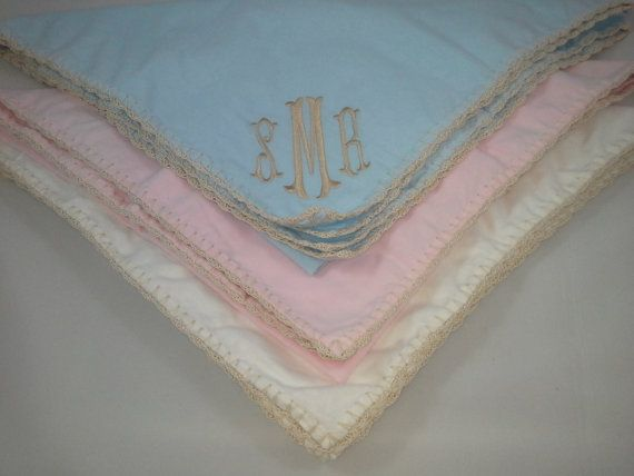 This sale is for 1 monogrammed solid light weight flannel swaddle blanket with an ivory crochet edging. These swaddle blankets are hand made