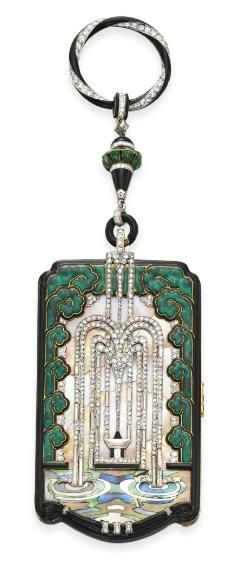 Art Nouveau Vanity Case, Mauboussin, in Enamel, Diamonds, Silver, Gold, Opal and Onyx, Paris 1925 ...