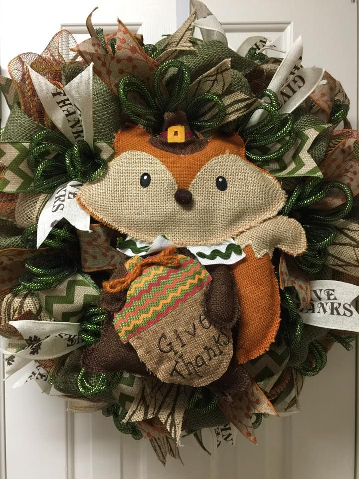 Thanksgiving Fox deco mesh wreath by Twentycoats Wreath Creations (2015)