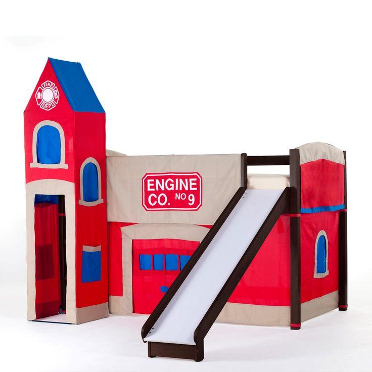 NE Kids Firehouse Junior Loft Bed with Slide - Chocolate - 5060NFR