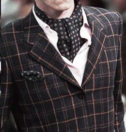 ascot solmio. joku ton tyyppinen vois olla kans hauska, vaatinee tosin ainakin liivin jos paidan alle laittaa..