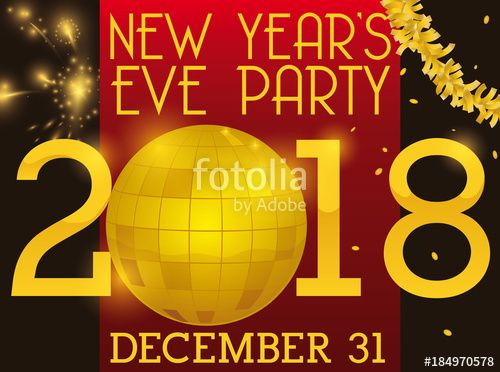 Party Ball, Fireworks and Garland for New Years's Eve Party