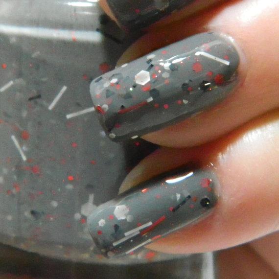 Newsprint Nail Polish - Grey Black Red Glitter Nail Polish - 0.5 oz Full Sized Bottle  $7.50 USD