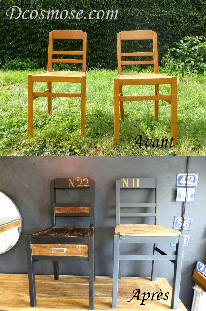 1000 id es sur le th me chaises peintes sur pinterest refaire les meubles - Relooker chaise bois ...