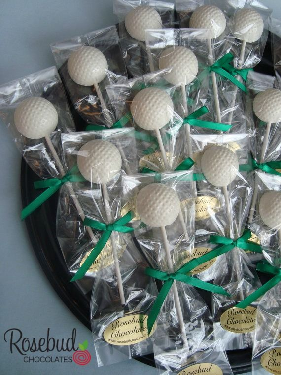 Golf Ball Chocolate Lollipops... Birthday Party, Wedding, Retirement Party, Candy Favors Golf Tournament, Banquet, Golfer  www.rosebudchocolates.com