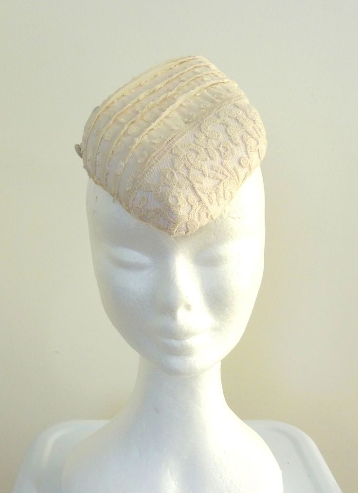 Cocktail hats Diamond-shaped, Ivory vintage lace hat. Handblocked and handmade.