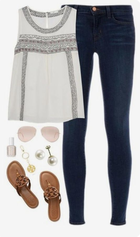 #summer #outfits / Sleeveless Top + Jeans
