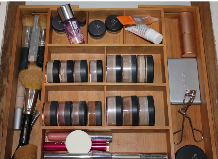 Picture Gallery For Website DIY Bare Escentuals storage for a fraction of the price of fancy contraptions I picked up this adjustable bamboo drawer organizer at Walmart for
