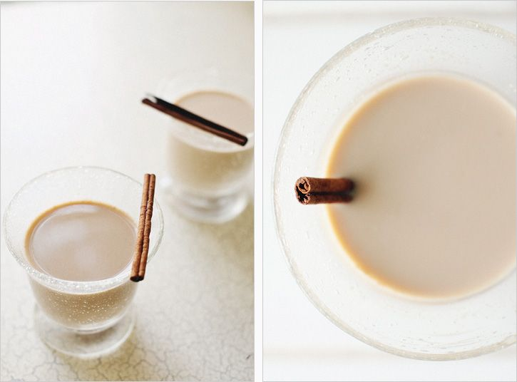 [ Recipe: Spicy Chai Latte - 4 cups ] Using black tea, milk, fresh ginger, cloves, cardmom seeds, black peppercorns, cinnamon sticks, ground nutmeg, star anise. ~ from sproutedkitchen.com