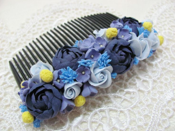 Flower hair Comb, Comb, hair comb, hair accessories, flovers, accessories, claycraft by deco, clay, polymer clay, blue, dark blue, by MarinaShestorkina on Etsy