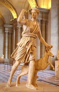 Artemis Greek Goddess of the Hunt, Forests and HIlls. Daughter of Zeus and Leto and twin sister of Apollo.  Her Roman equivalent is Diana. (The Diana of Versailles, a Roman copy of a Greek sculpture by Leochares at the Louvre Museum)