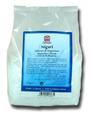 Au Japon, nigari est le nom traditionnel donné au chlorure de magnésium naturel, dérivé du mot japonais signifiant amer. Présenté sous forme de poudre blanche ou de cristaux, il sert de coagulant pour la préparation du tofu à partir du lait de soja.    Le nigari est un complément alimentaire naturel et bon marché apportant le magnésium manquant à une grande partie de la population occidentale.
