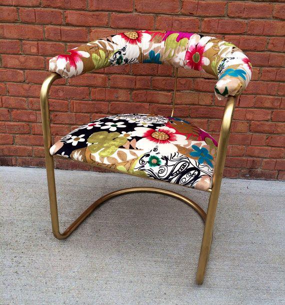 Retro Modern Floral Side Chair