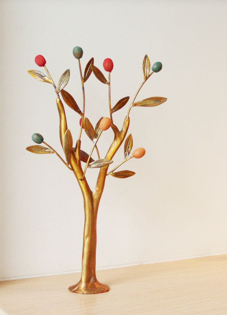 Metal olive tree with colourful olives, brass mini sculpture of minimal olive tree.