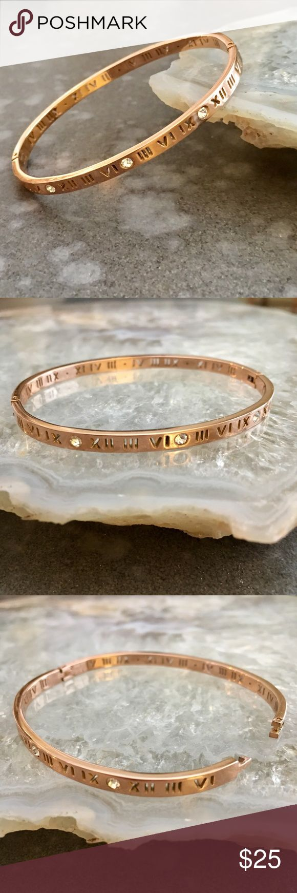 Minimalist Rose Gold Roman Numeral Bangle Bracelet Minimalist chic rose gold Roman numeral Bangle bracelet. Brand new with tags! See the matching ring also listed! So cute to pair with a chic watch or wear it by itself! ASOS Jewelry Bracelets