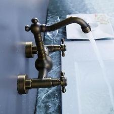Antique Copper Wall Mounted Cross Handles Bathroom Sink Basin Faucets Mixer Taps $56