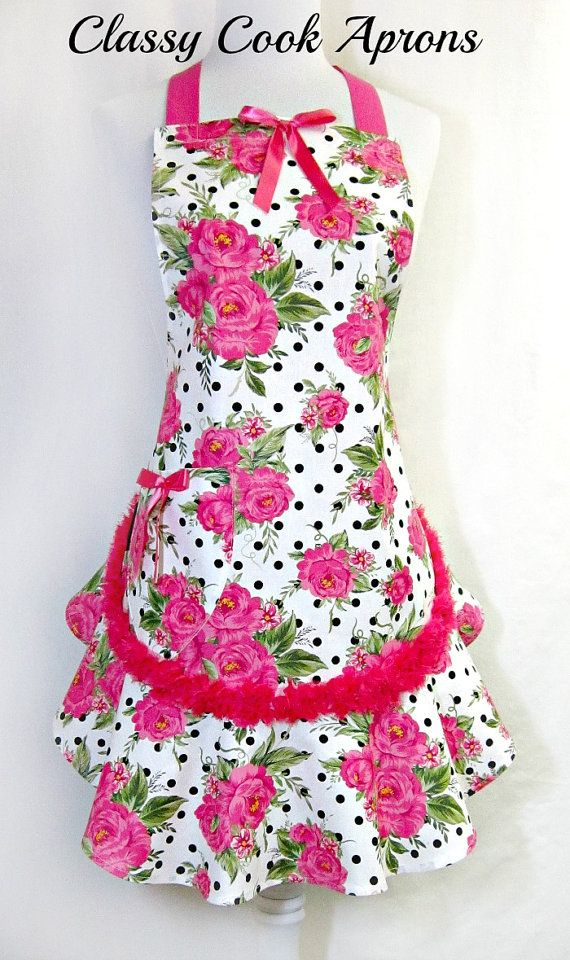 Apron PINK & Black Dots with CHIFFON Rosette Trim, by ClassyCookAprons, $38.50