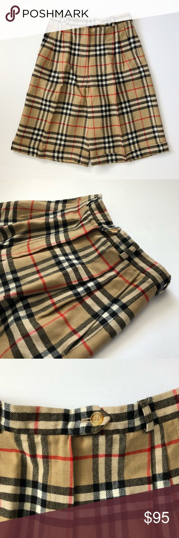 """Burberry Vintage High Waisted Culottes Shorts Pre-loved, like new, Women's wool pleated front culottes, Nova Check, button and zip fly closure, two side pockets, viscose lined, tagged 8 regular, 26"""" waistline, 13"""" front rise, 9.5"""" inseam. Please feel free to ask questions. No trades. Burberry Shorts"""