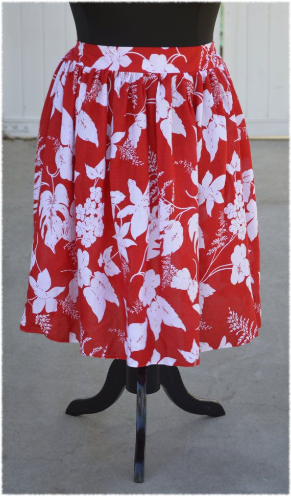 In Stock: Lilo Hawaiian Red and White Vintage Rayon Character Bounding Skirt  in Plus Size 3X