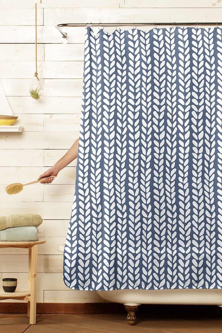 Knit Wave Navy Blue White Shower Curtain Blue Shower Curtains Navy Shower Curtain