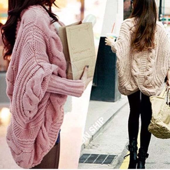 Pink loose batwing cardigan New. Available in black fray pink and cream. Xs/s/m/l/xl Sweaters Cardigans