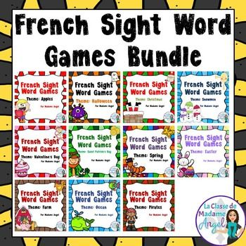 "Engage your students in learning their ""mots frquents"" with this fun bundle of sight word games in French!  With a 11 different themes, these games are played in the style of the English game ""Bang"".   I like to call it ""Boum"" in French!  Each package contains over 100 words, as well as a blank template to add your own cards!"