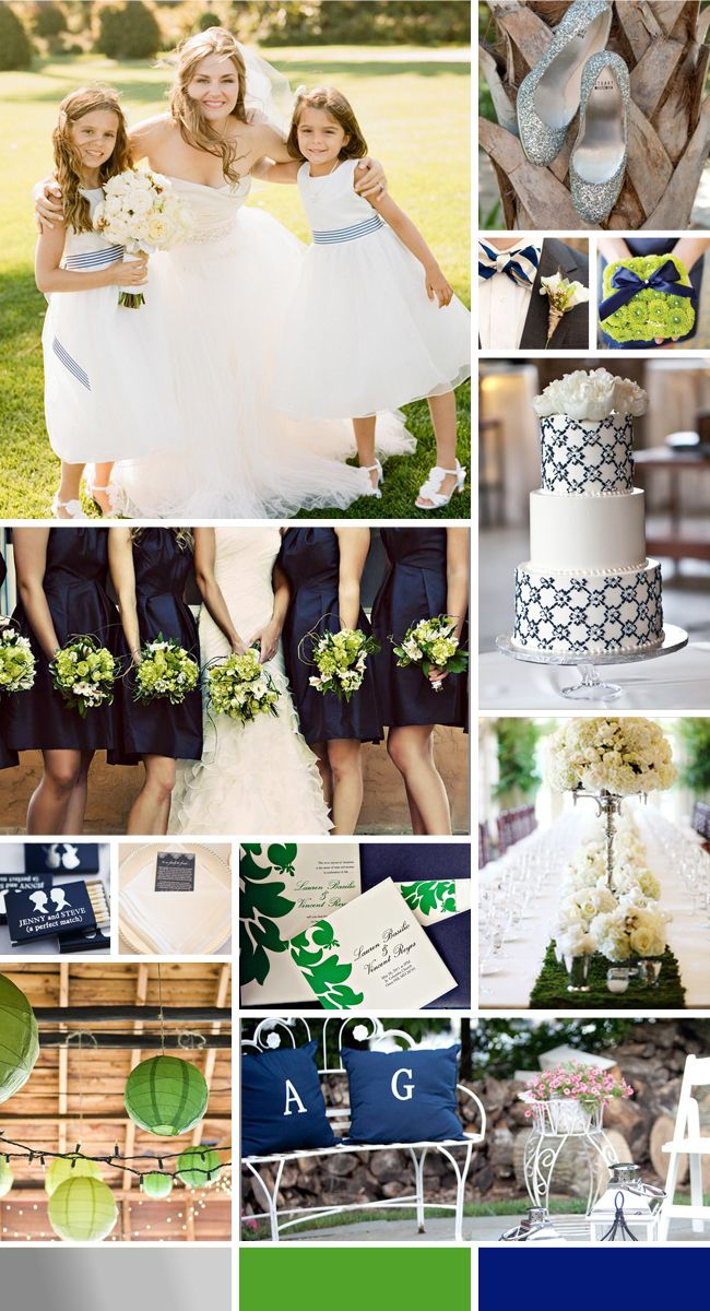 A Preppy Color Palette of Navy, Green and Silver