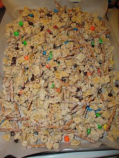 Christmas Crunch...just made this, SOOO yummy! Few changes: 1c cheerios, 1 c rice chex, 2 c cap'n crunch, 1.5 c pretzels, 1.5 c peanuts, 1c m, 1 c choc. chips...upped the amt of almond bark a few oz as well....SOOO good