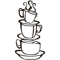 Sumlake Coffee Cup Restaurant Cafe Wall Art Stickers Decal Decoration by Topro